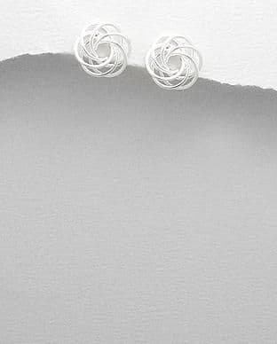 925 Sterling Silver Hand Crafted Swirl Stud Earrings